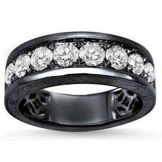 Noori Men's 14k Black Gold 1 1/3ct Round Diamond Wedding Band Ring