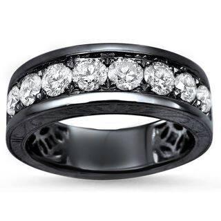 Noori Men's 14k Black Gold 1 1/3ct Round Diamond Wedding Band Ring - White|https://ak1.ostkcdn.com/images/products/12013185/P18889207.jpg?impolicy=medium