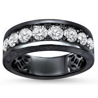 Noori Men's 14k Black Gold 1 1/3ct Round Diamond Wedding Band Ring - White