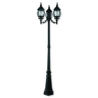 Livex Lighting Frontenac Black Aluminum Three-Light Outdoor Three-Headed Post