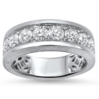 Noori 14k White Gold 1 1/3ct Round Diamond Mens Wedding Band Ring