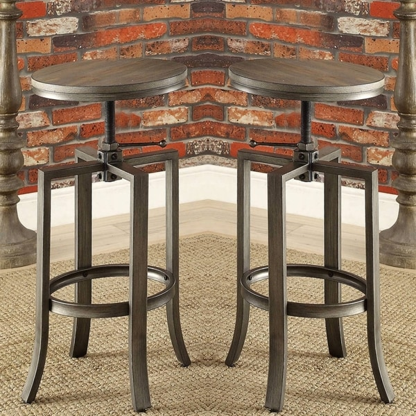 Corkscrew Industrial Design Adjustable Dining Bar Stools (Set of 2) & Corkscrew Industrial Design Adjustable Dining Bar Stools (Set of 2 ... islam-shia.org