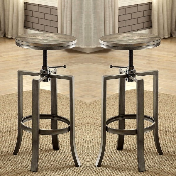 Corkscrew Industrial Design Adjustable Dining Bar Stools (Set Of 2)   Free  Shipping Today   Overstock.com   18889210