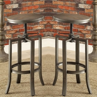 Corkscrew Industrial Design Adjustable Dining Bar Stools (Set of 2)