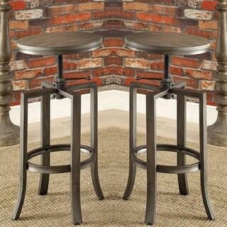 Corkscrew Industrial Design Adjustable Dining Bar Stools (Set of 2)