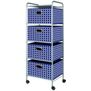 Dark Blue Fabric 4-drawer Cart