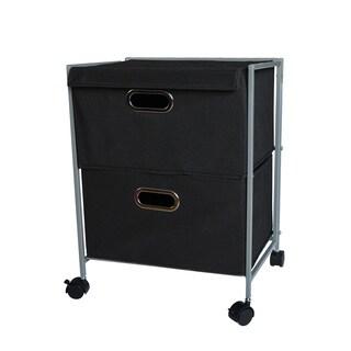 Black Metal Polyester Folding 2-drawer Trolley Cart