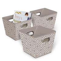 Tan/White Fabric Collapsible Bins (Pack of 3)