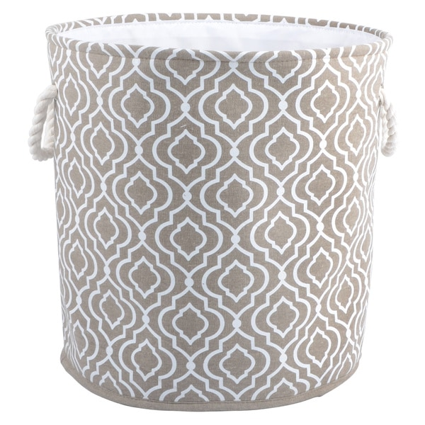 Shop Tan White Polyester Blend Round Hamper Tote With