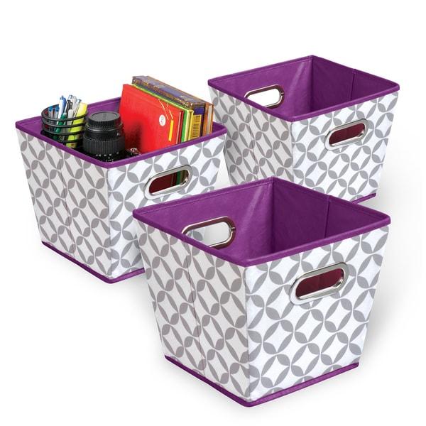 Shop Heather Grey/White/Purple Collapsible Fabric Bin