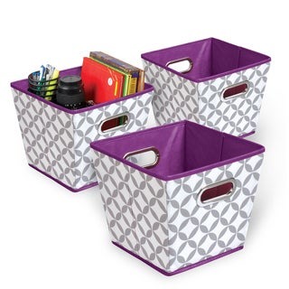 Heather Grey/White/Purple Collapsible Fabric Bin (Pack of 3)