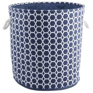 Dark Blue Round Hamper/Tote with Rope Handles