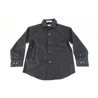 Calvin Klein Boy's Black Cotton Dress Shirt