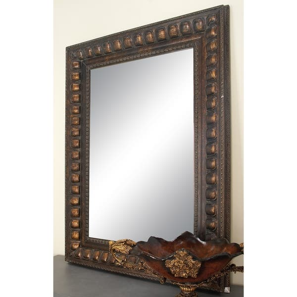 Traditional 48 X 36 Inch Brown Wood Beveled Wall Mirror
