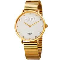 Akribos XXIV Women's Quartz Diamond Gold-Tone Bracelet Watch