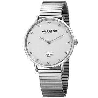 Akribos XXIV Women's Quartz Diamond Silver-Tone Bracelet Watch with FREE Bangle