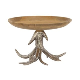Wooden Bowl with Antler Stand