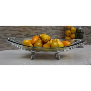 Chic Glass Bowl Metal Silver Stand