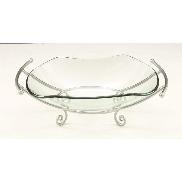 Elegant Silver Metal Stand Glass Bowl