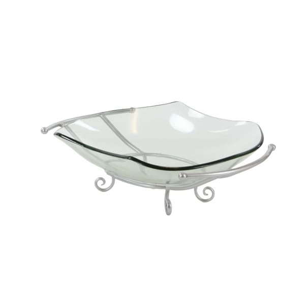 Modern 8 x 24 Inch Oval Glass Bowl with Silver Stand by Studio 350