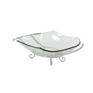 Elegant Silver Metal Stand Glass Bowl