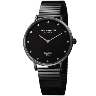 Akribos XXIV Women's Quartz Diamond Black Bracelet Watch