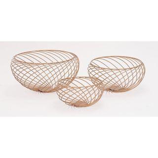 Stylish Copper Metal 9-inch x 9-inch x 5 inch Bowls (Set Of 3)