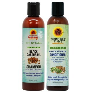 Tropic Isle Living Jamaican Black Castor Oil 8-ounce Shampoo and Conditioner Set