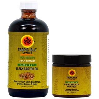 Tropic Isle Living 8-ounce Jamaican Black Castor Oil Healing Oil and 4-ouce Hair Food Set