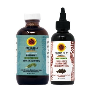 Tropic Isle Living 4-ounce Rosemary Jamaican Black Castor Oil and Strong Roots Red Pimento Hair Growth Oil Set