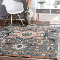 nuLOOM Transitional Tribal Medallion Grey Rug (7'10 x 11') - 7'10 x 11'