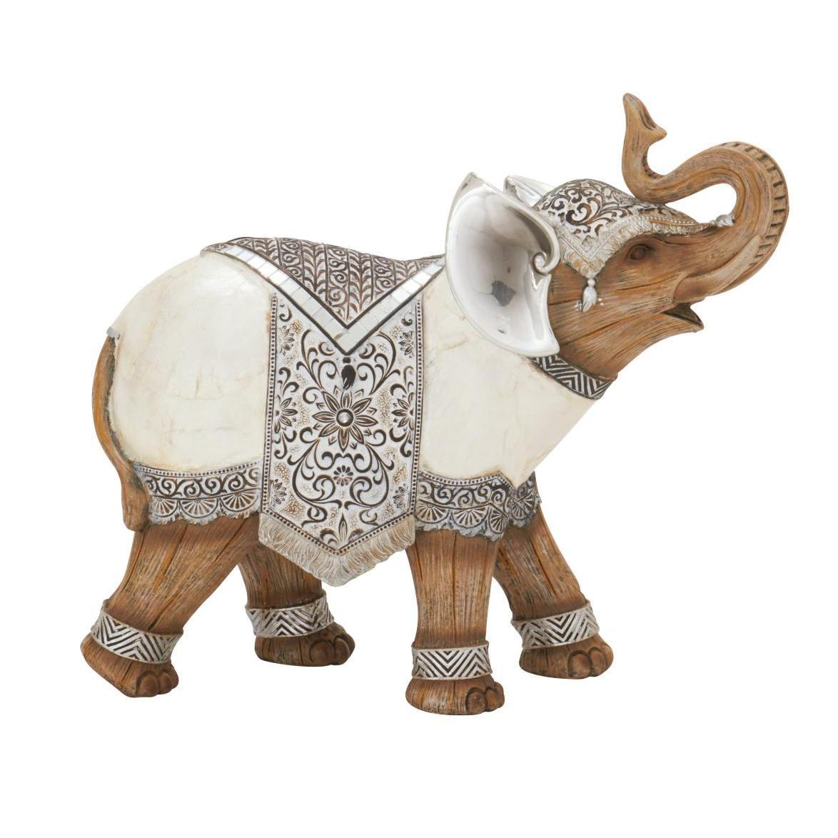 The Curated Nomad Merced Tan and White Resin Adorned Elephant Figurine (Dcor)