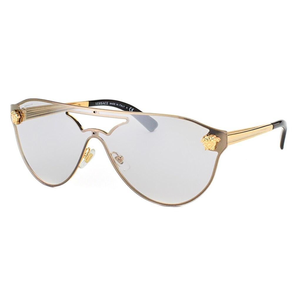Versace Women/'s VE2161B VE//2161//B 1252//5A Pale Gold Shield Sunglasses 42mm