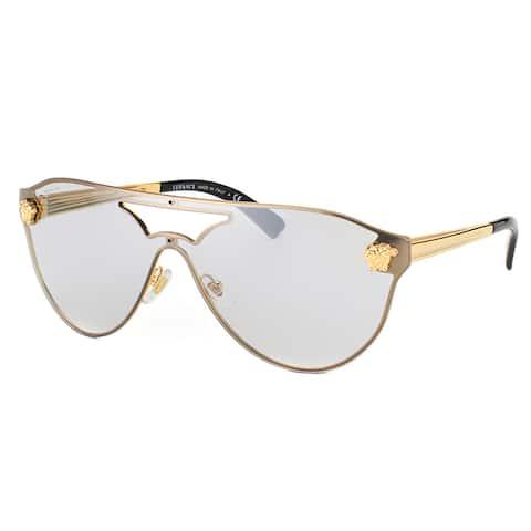 Versace Gold Metal Aviator Silver Mirror Lens Sunglasses
