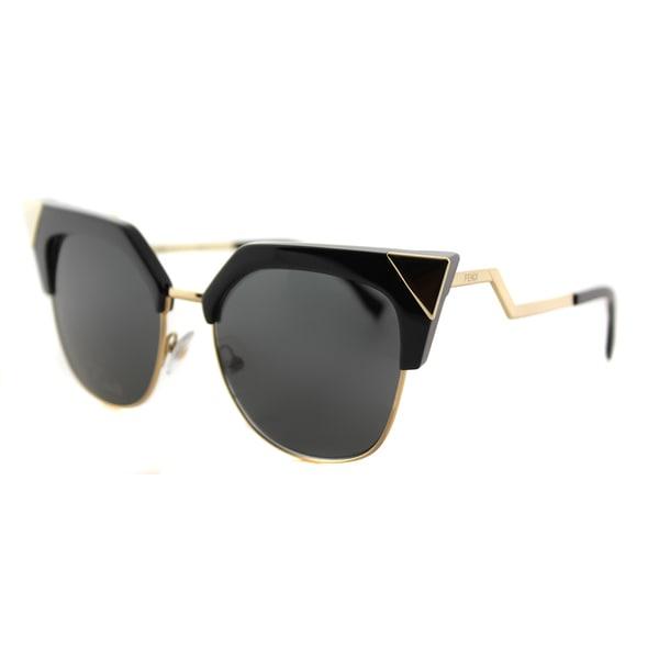 abef88be403e Shop Fendi Iridia Black Gold Metal Grey Lens Cat-Eye Sunglasses - On ...