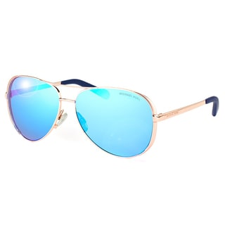 Michael Kors Chelsea Rose Gold Metal Aviator Blue Mirror Lens Sunglasses
