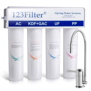 iSpring CU-A4 4-Stage Ultrafiltration Drinking Water System with Sediment, UF, KDF, and Activated Carbon Filtration Media