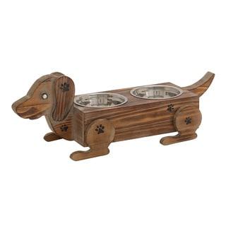Brown Metal/Wood Fantastic Dog Feeder