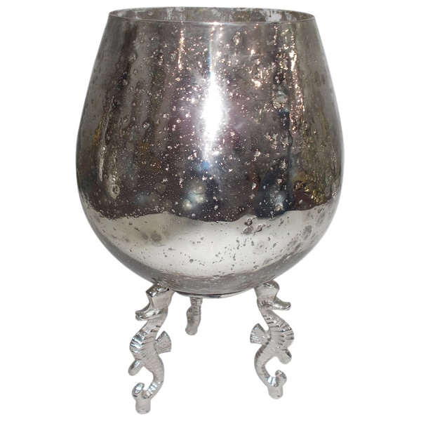 Silver Aluminum and Glass Vintage Votive Holder