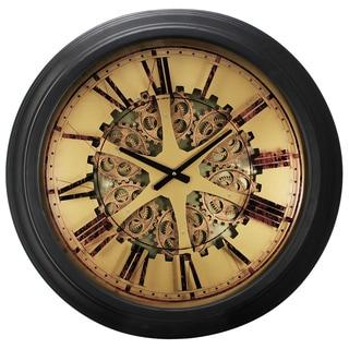 Black Iron/Plastic 26-inch x 3-inch Classic Gears Wall Clock
