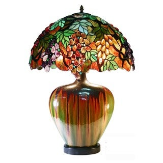 Warehouse of Tiffany Elvenea Bronze Ceramic/Art Glass 27-inch 2-light Grapes Tiffany-style Table Lamp