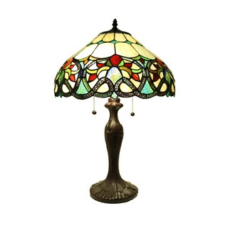 Ethelle 23-inch 2-light Geometrical Tiffany-style Table Lamp