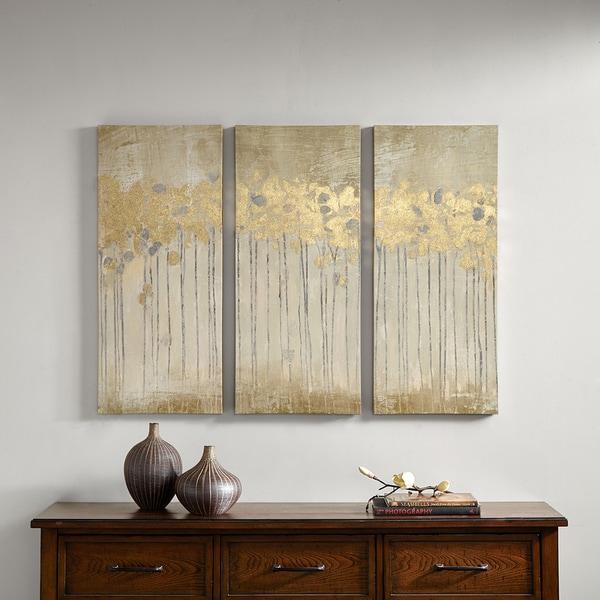 Clay Alder Home Poinsett Sandy Forest Taupe Gold Foil Embellishment 3-piece Set Gel Coat Canvas