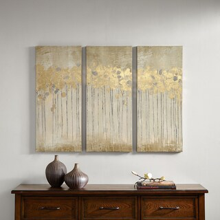 Clay Alder Home Poinsett Sandy Forest Taupe Gold Foil Embellishment 3-piece Set Gel Coat Canvas