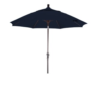 California Umbrella 9' Rd. Aluminum/Fiberglass Rib Market Umb, Deluxe Crank Lift/Collar Tilt, Bronze Finish, Sunbrella Fabric