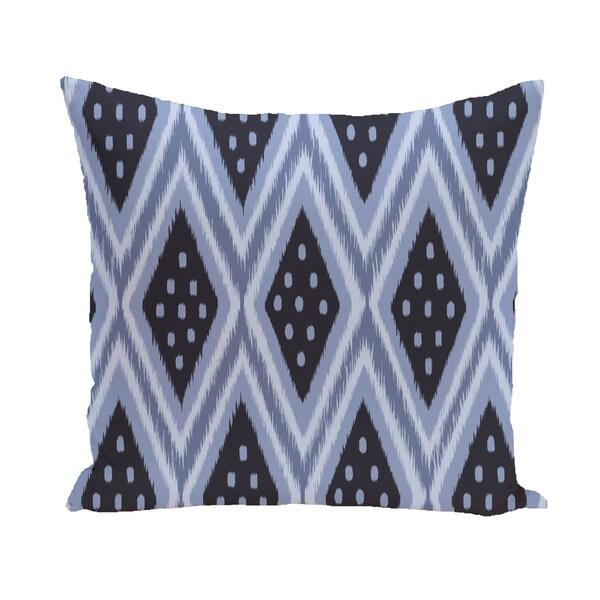 16 x 16-inch ikat diamond dot Geometric Print Outdoor Pillow