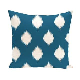 16 x 16-inch Ikat Dot Geometric Print Outdoor Pillow