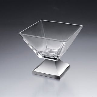 Venezia Clear Glass and Metal Fruit Bowl