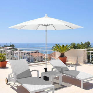 California Umbrella 11' Rd. Aluminum Market Umbrella, Crank Lift, Collar Tilt, Dbl Wind Vent, White Finish, Sunbrella Fabric