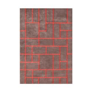 Alliyah Pecan Brown Geometric Brick Wool Accent Rug (5' x 8')